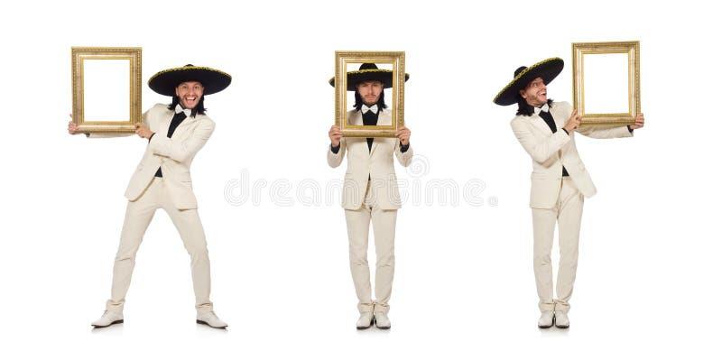 Śmieszny meksykanin w kostiumu mienia fotografii ramie odizolowywającej na bielu fotografia royalty free