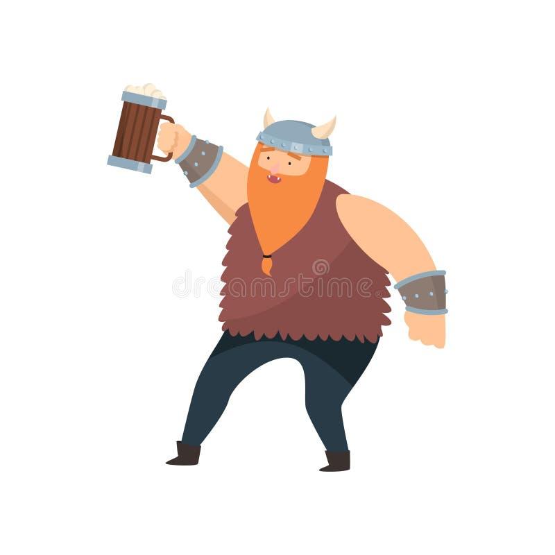 Śmieszny miedzianobrody Viking z drewnianym kubkiem piwo w jego oddaje białego tło ilustracji