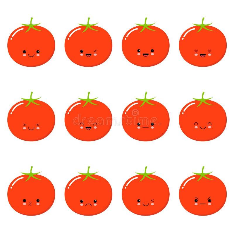 Śmieszny pomidor - wektor kreskówki odosobneni emoticons Śliczny emoji ustawiający z ładnym charakterem Kawaii śliczny warzywo royalty ilustracja