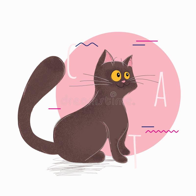 Śmieszny szczęśliwy kot siedzi i marzy royalty ilustracja