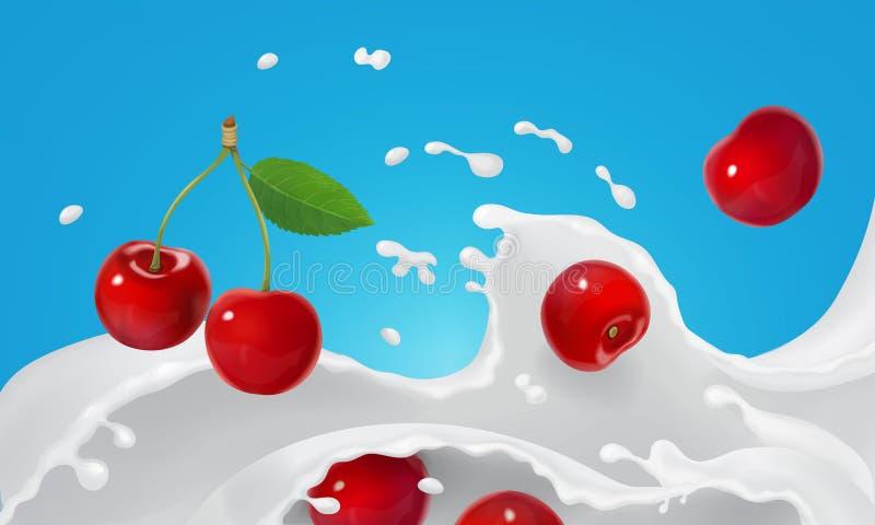 Śmietankowy ciekłego mleka przepływ i wiśnie Jogurtu pluśnięcie lub lody stapianie z czerwonych jagod Realistyczną wektorową ilus royalty ilustracja