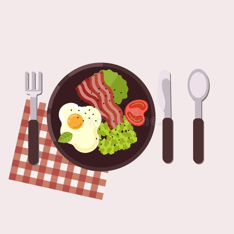śniadaniowy kawowy pojęcia filiżanki jajko smażący zdrowa żywność również zwrócić corel ilustracji wektora Mieszkanie styl ilustracji
