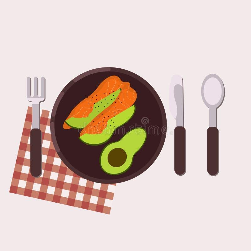 śniadaniowy kawowy pojęcia filiżanki jajko smażący zdrowa żywność również zwrócić corel ilustracji wektora Mieszkanie styl ilustracja wektor