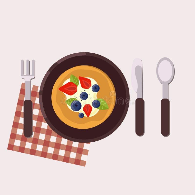 śniadaniowy kawowy pojęcia filiżanki jajko smażący zdrowa żywność również zwrócić corel ilustracji wektora Mieszkanie styl royalty ilustracja