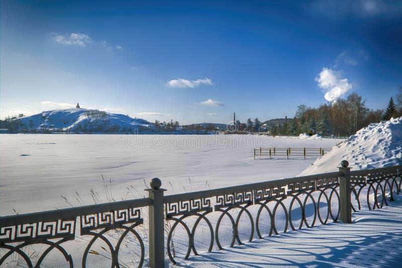 śnieżne aleje park na pogodnym zima dniu zdjęcie stock