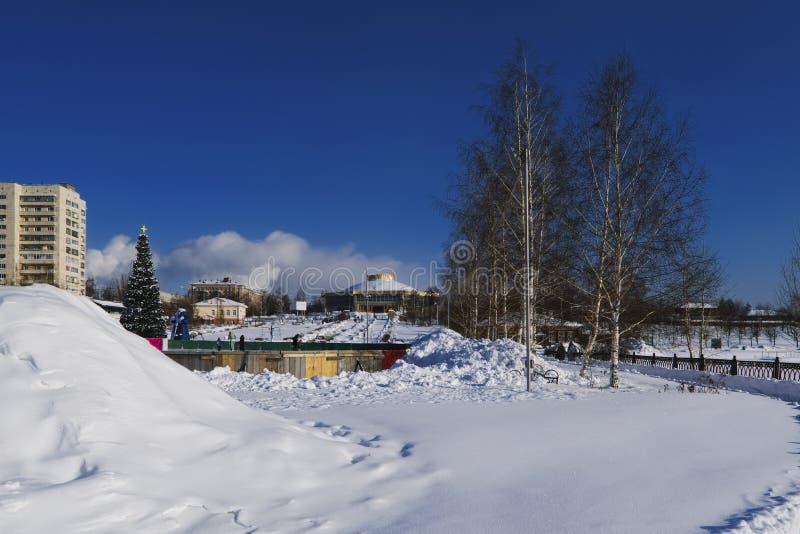 śnieżne aleje park na pogodnym zima dniu obraz stock