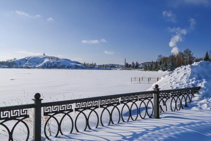 śnieżne aleje park na pogodnym zima dniu obrazy stock