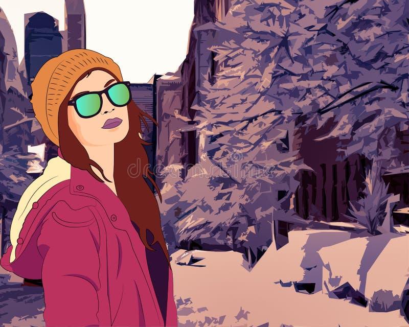Śnieg w mieście ilustracja wektor