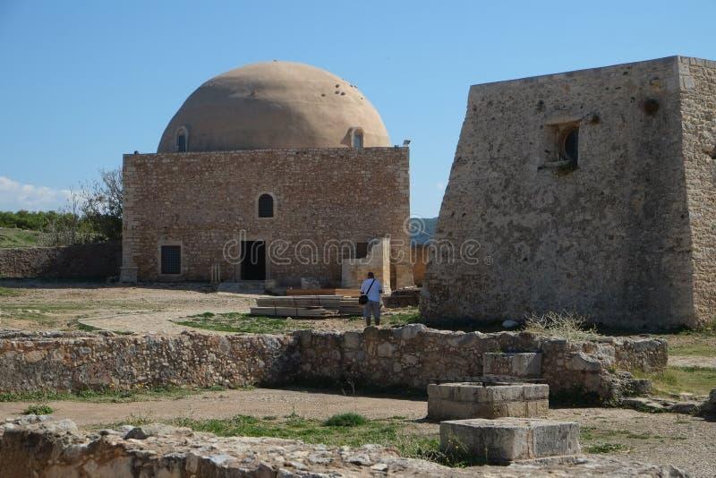 Średniowieczne fortyfikacje w Rethymno fortecy, Crete, Grecja fotografia stock