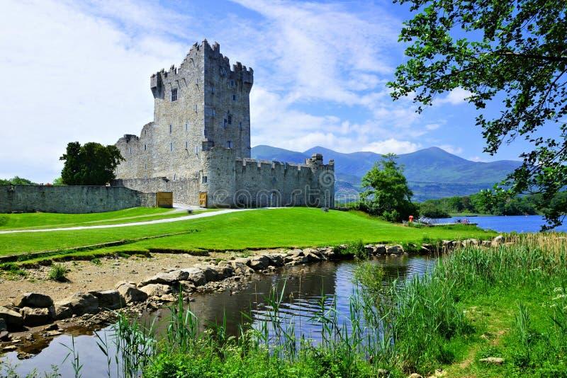 Średniowieczny Ross kasztel na Lough Leane, Killarney park narodowy, pierścionek Kerry, Irlandia fotografia royalty free