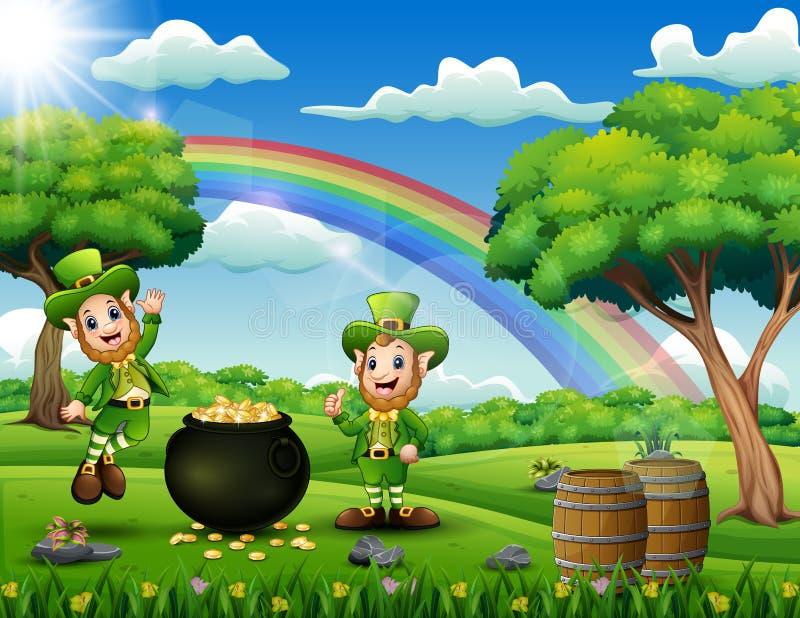 Świątobliwy Patricks dnia backround z leprechauns royalty ilustracja