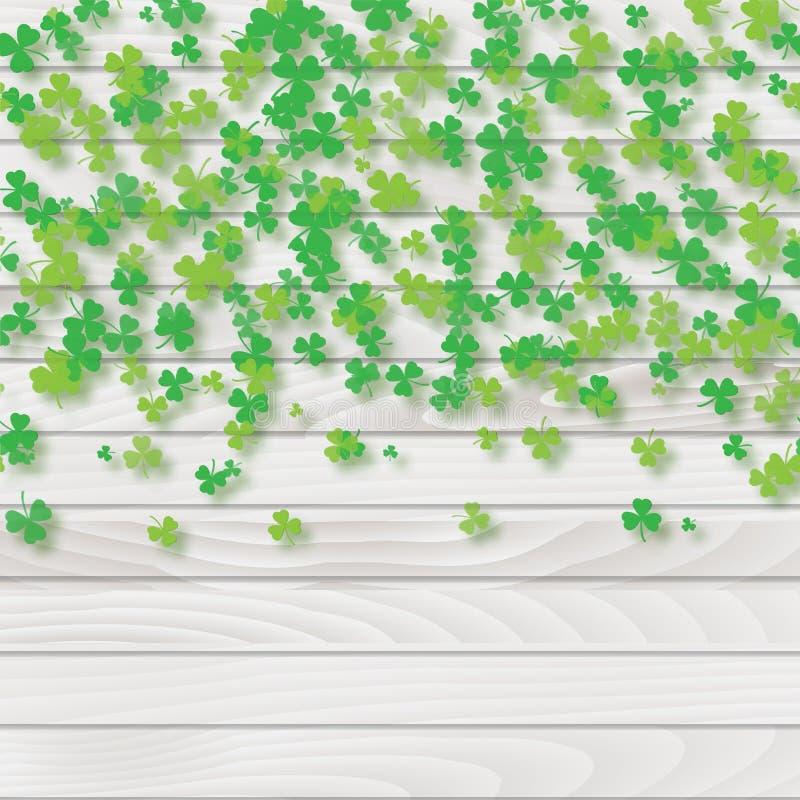 Świętego Patrick ` s dnia rama z zielonymi drzewnymi liść koniczynami na białym tle wektor ilustracji