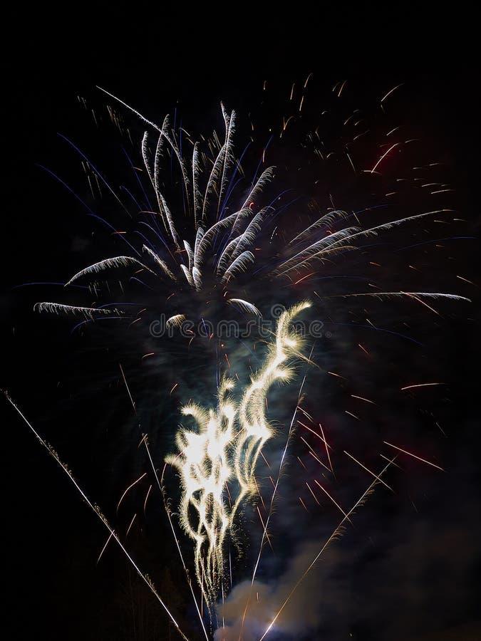 Świętowanie z fajerwerkami w ciemnym niebie fotografia stock