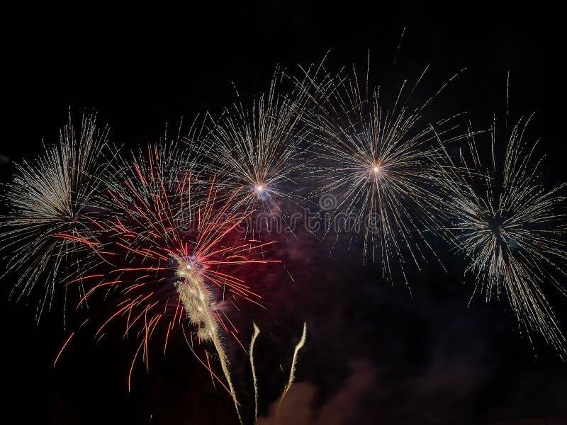 Świętowanie z fajerwerkami w ciemnym niebie fotografia royalty free