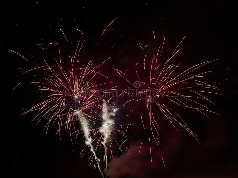 Świętowanie z fajerwerkami w ciemnym niebie obrazy stock