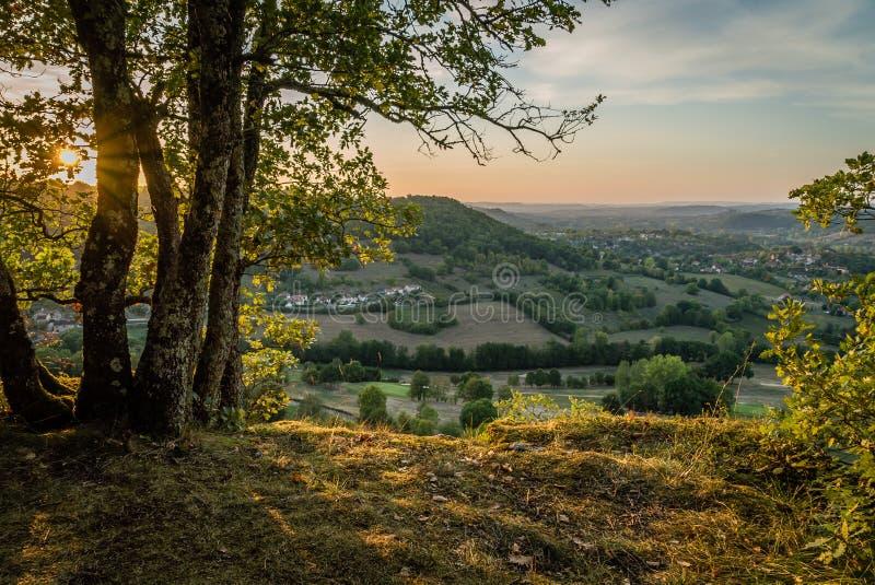 Święty Cere i Bretenoux dolina w lecie, udział fotografia stock