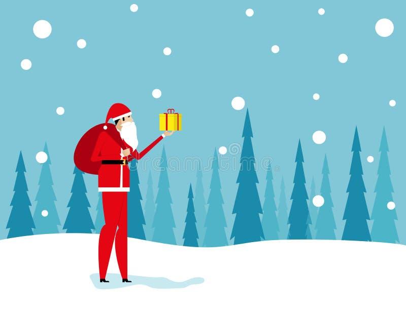 Święty Mikołaj przychodzi z torbą Pojęcie wakacje i boże narodzenie wektoru ilustracja Charakteru mieszkanie ilustracja wektor