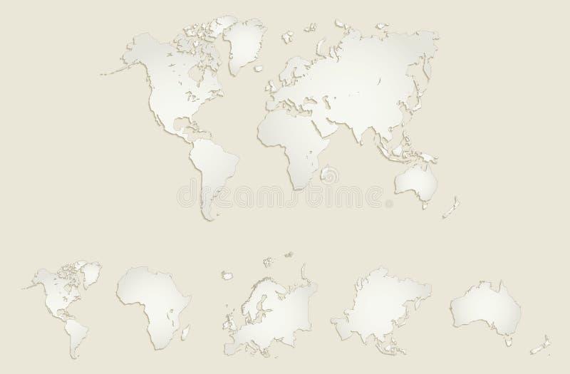 Światowa kontynent mapa, Ameryka, Europa, Afryka, Azja, Australia, stary papierowy puste miejsce ilustracja wektor