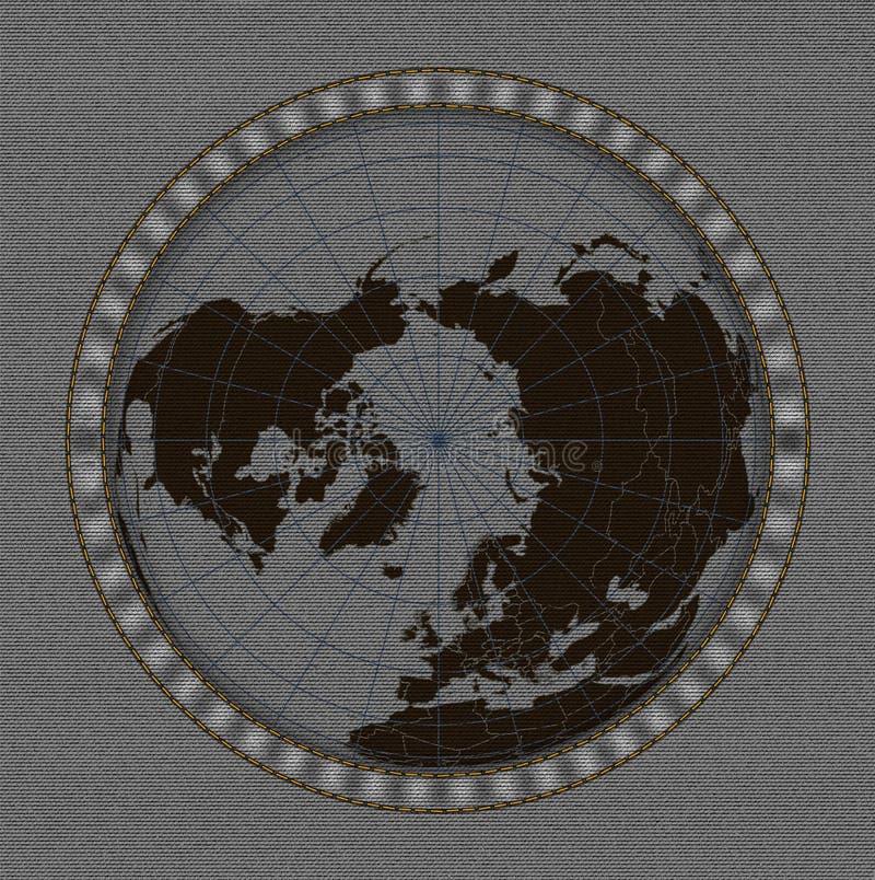 Światowa mapa na cajg tekstury tle royalty ilustracja