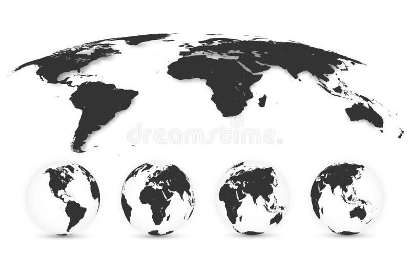 Światowa mapa Odizolowywająca na Białym tle w szarość kolorze - globus ziemi Światowej mapy set również zwrócić corel ilustracji  royalty ilustracja