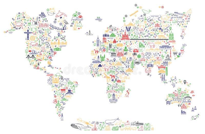 Światowa podróży linii ikon mapa Podróż plakat z zwierzętami i zwiedzającymi przyciąganiami Inspiracyjna wektorowa ilustracja ilustracja wektor
