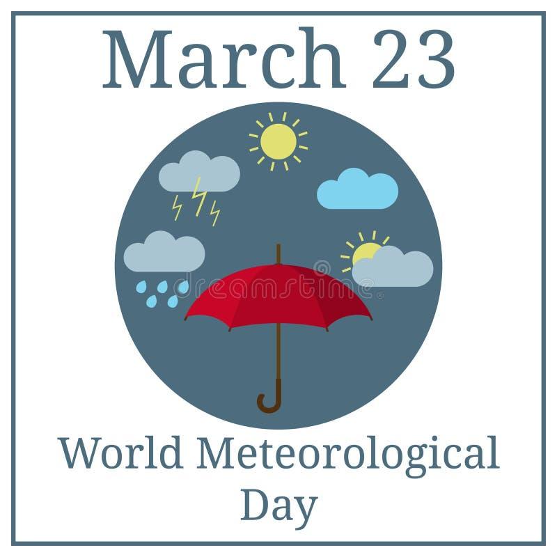 Światowy meteorologiczny dzień Marzec 23 Marcowy wakacje kalendarz parasol obłocznych ikon podeszczowa słońca pogoda projekta świ ilustracji