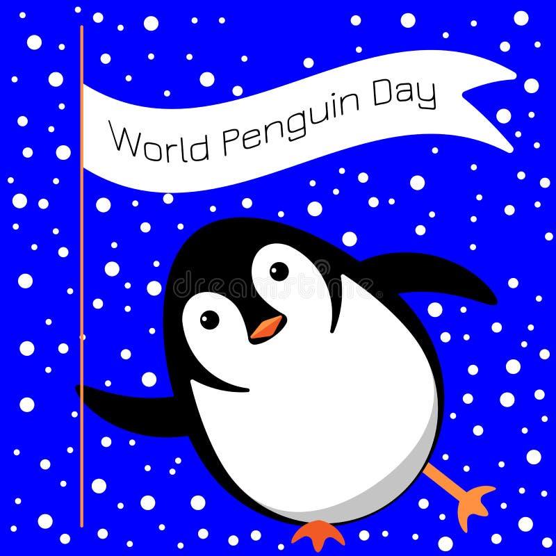 Światowy pingwinu dzień Pingwin ono ślizga się na lodzie, mrugnięcia, chwyty flaga z imieniem wydarzenie ilustracja wektor