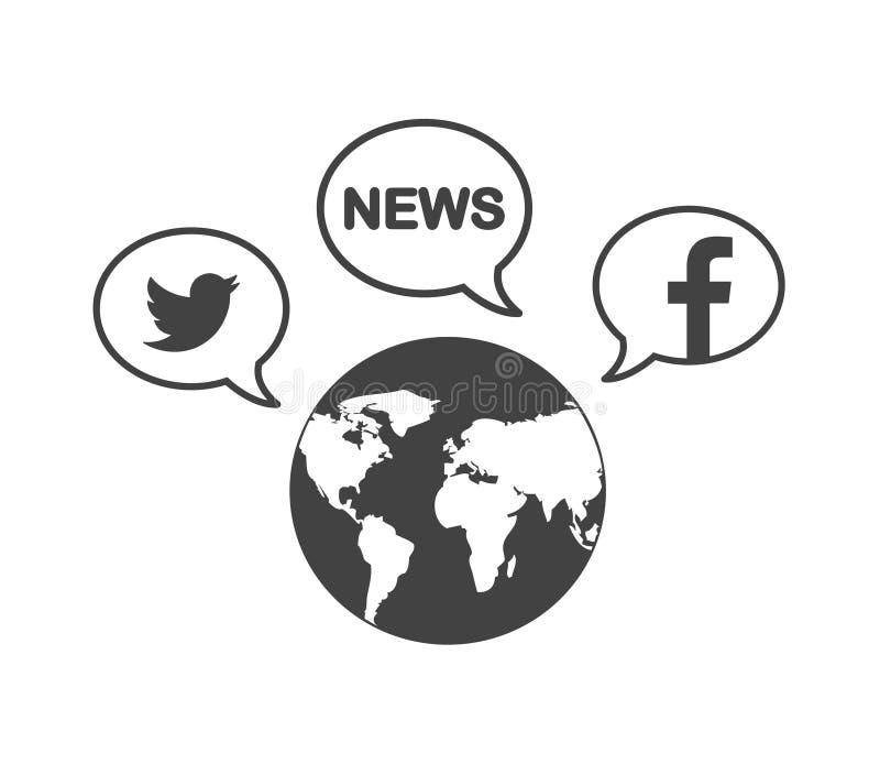Światowy symbol i ogólnospołeczne medialne ikony Wiadomość, Twitter i Facebook w mowa bąblach, ilustracji