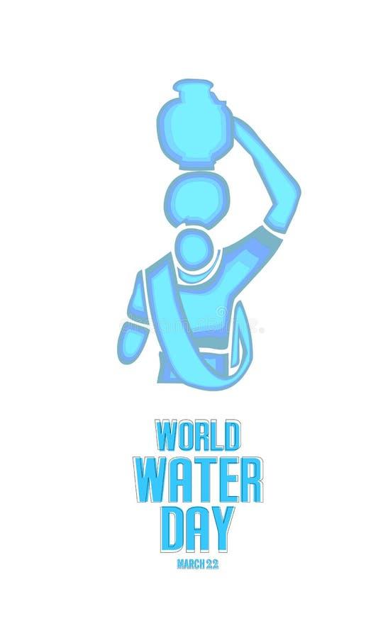 światu wodny dzień - Indiańska kobieta niesie dalej wodnego garnek Oprócz wody, ilustracja wektor