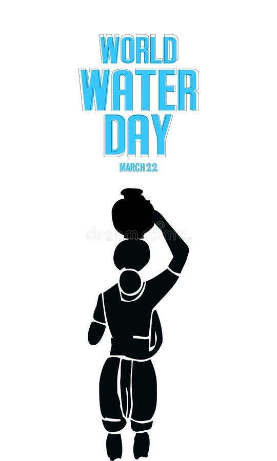 światu wodny dzień - sylwetki Indiańska kobieta sztuka niesie dalej wodnego garnek Oprócz wody, ilustracji