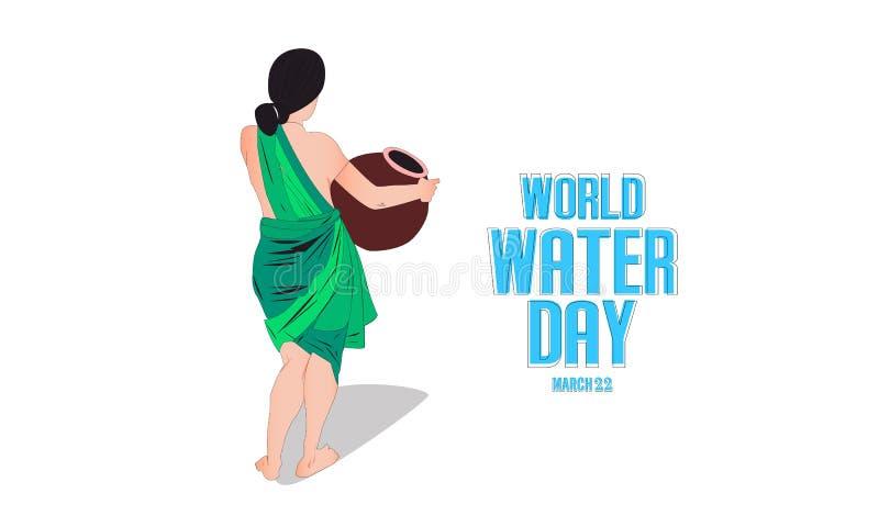 światu wodny dzień wektor - Indiańska kobieta niesie dalej wodnego garnek - ilustracji
