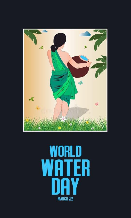 światu wodny dzień wektor ramy projekty - Indiańska kobieta niesie dalej wodnego garnek - ilustracja wektor