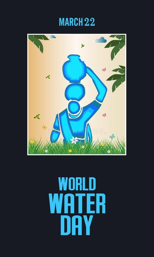 światu wodny dzień wektor ramy projekty - Indiańska kobieta niesie dalej wodnego garnek - royalty ilustracja