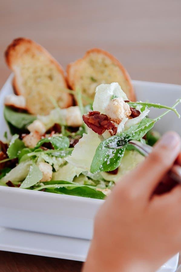Świeża zielona szpinak sałatka z bekonem, crouton i serem crispy, zdjęcie royalty free