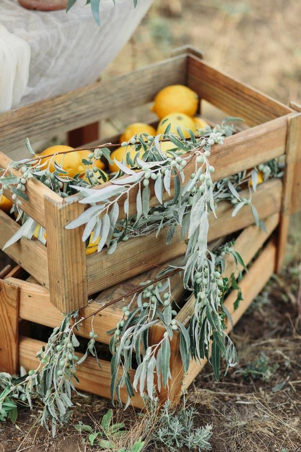 Świeże cytryny w starym pudełku z liśćmi Na drewnianym tle zdjęcia royalty free