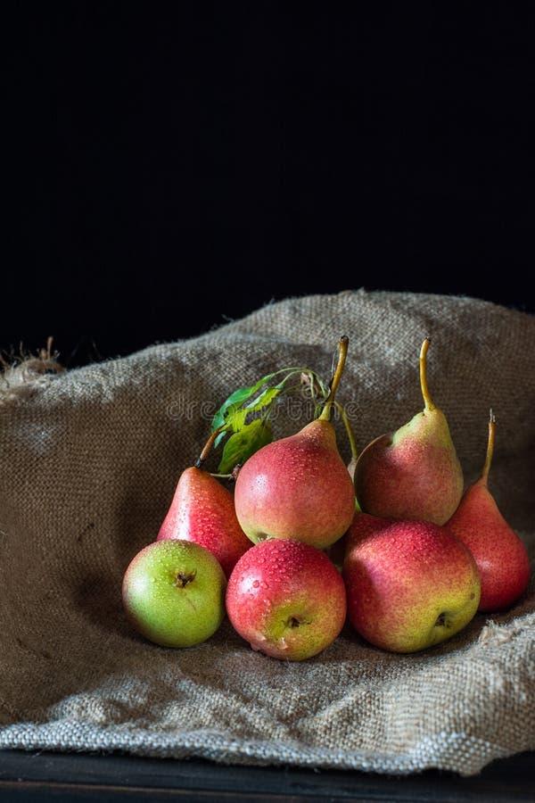 Świeże dojrzałe organicznie czerwone bonkrety na nieociosanym drewnianym stole, naturalny tło, vega, diety jedzenie Jesieni żniwa zdjęcie stock