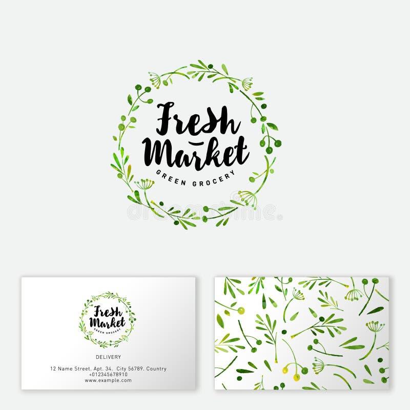 Świeżego rynku logo Pociągany ręcznie ziele i pikantność lubią wianek bezszwowy wzoru ilustracji