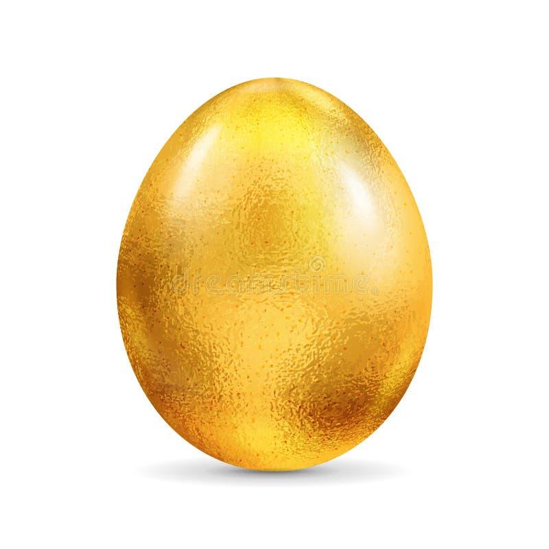 Świeżego surowego kurczaka złoty foliowy jajko odizolowywający na białym tle Realistyczna wektoru 3D ilustracja obraz royalty free