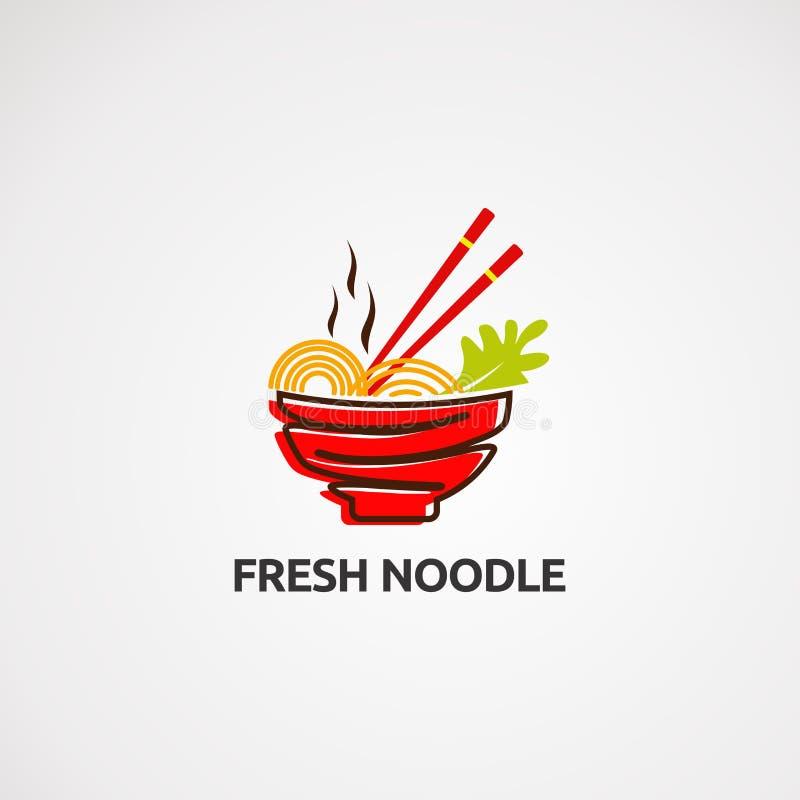 Świeży kluski logo wektor, ikona, element i szablon, obraz stock