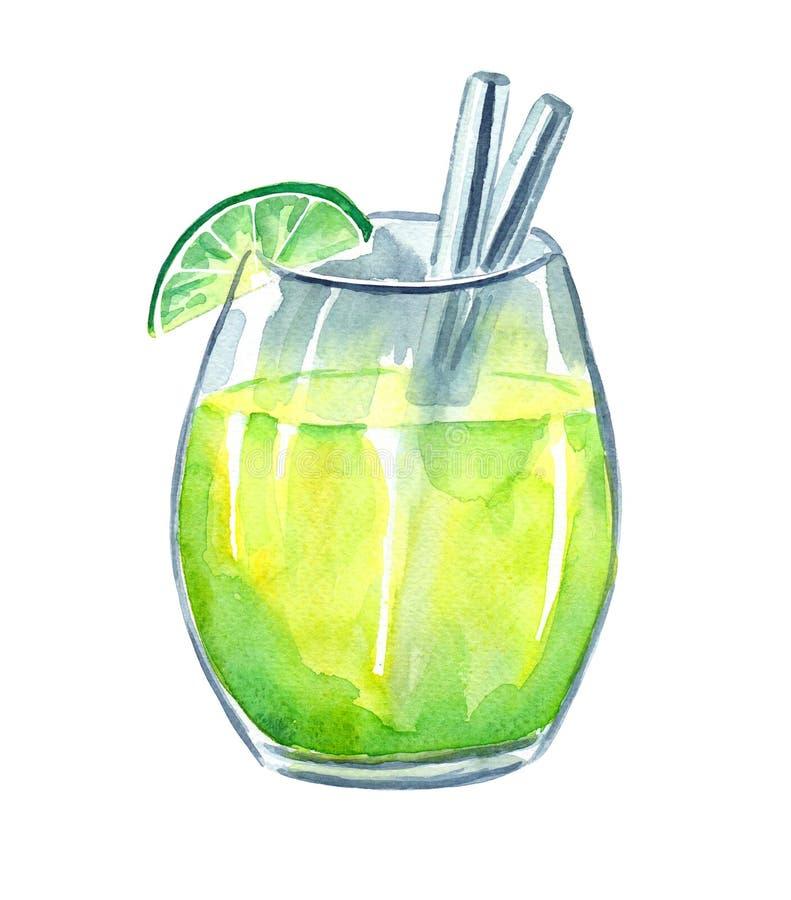 Świeży lemoniada napój z wapnem ilustracja wektor
