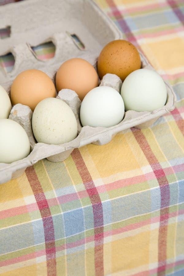 Świeży, organicznie, brązowić, zieleń i błękita Araucana jajka dla sprzedaży przy rolnikami wprowadzać na rynek zdjęcie royalty free