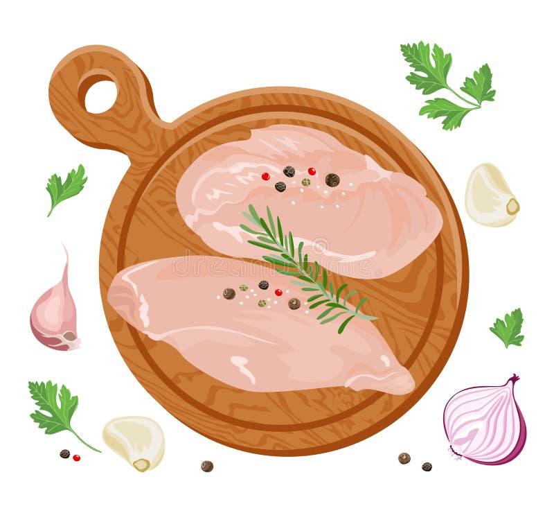 Świeży surowy kurczak polędwicowy na ciąć drewnianą deskę ilustracja wektor