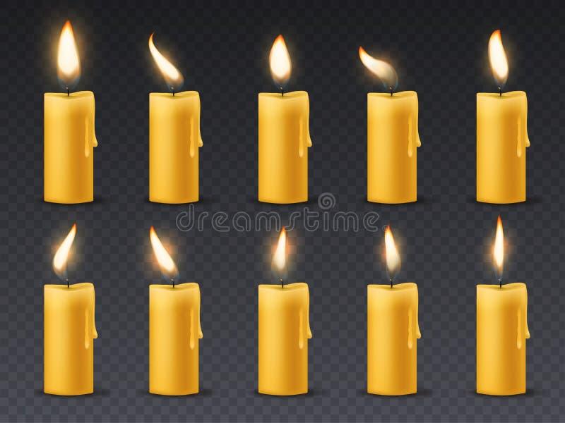 Świeczka płomienia animacja Animowanego blasku świecy romantycznego wakacyjnego wosku płonące świeczki zamknięte w górę ciepłego  royalty ilustracja