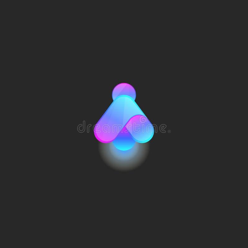 Świetlika logo gradientu jaskrawy styl, jarzeniowy czarodziejski glowworm, komarnicy nocy pluskwy logotypu prosty rżnięty mockup ilustracja wektor