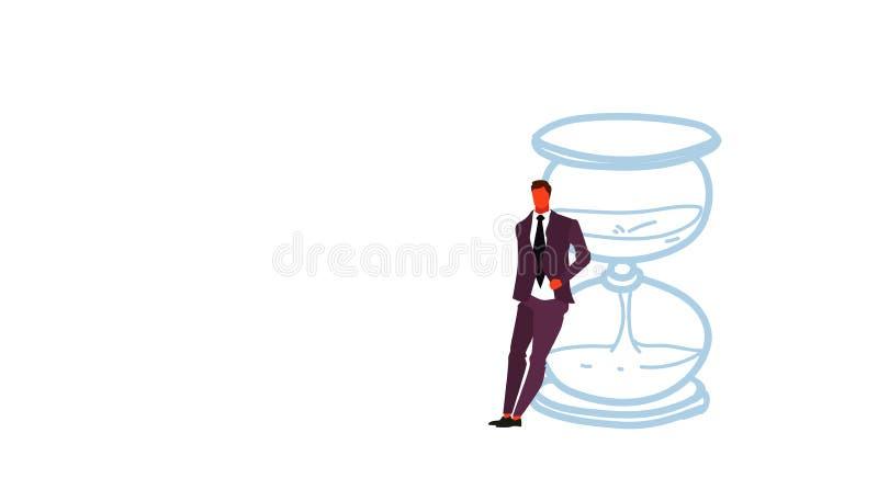 倾斜在沙子时钟最后期限时间管理概念商人办公室经理身分的商人在sandglass 库存例证