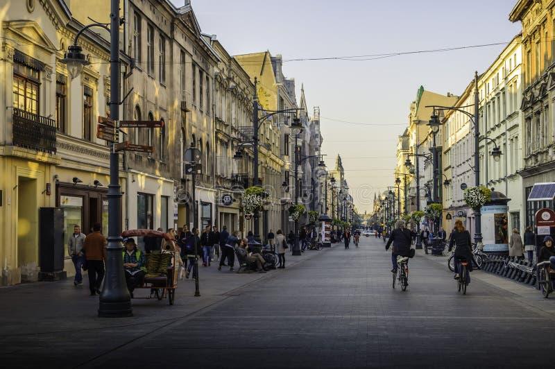 Å  à ³ dź παλαιά πόλη Piotrkowska Πολωνία στοκ εικόνες