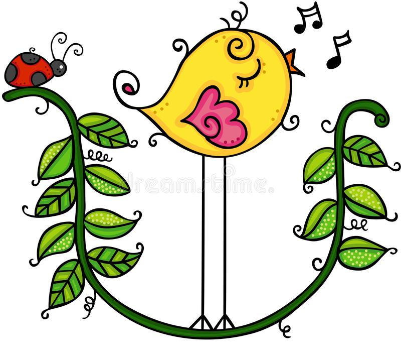唱歌在分支叶子的逗人喜爱的黄色鸟 库存例证