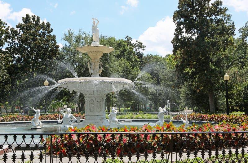 喷泉在Forsyth公园 库存图片