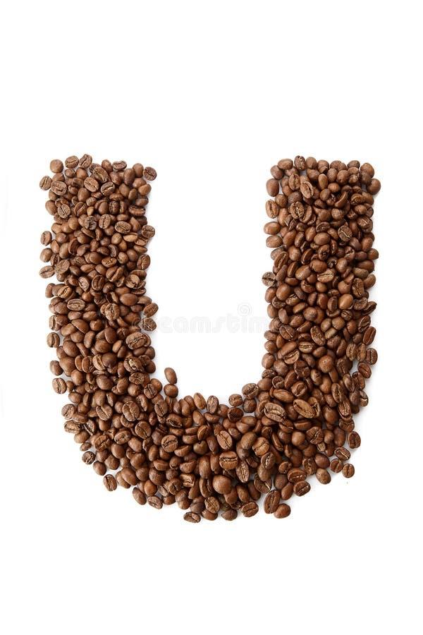 咖啡字体在白色背景隔绝的字母表概念 库存照片