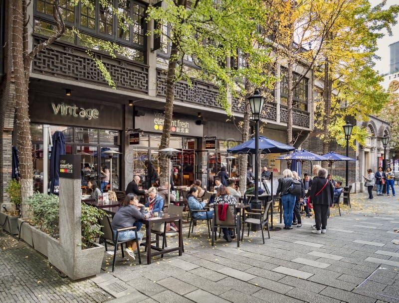 咖啡馆在Xintiandi,上海 免版税库存图片